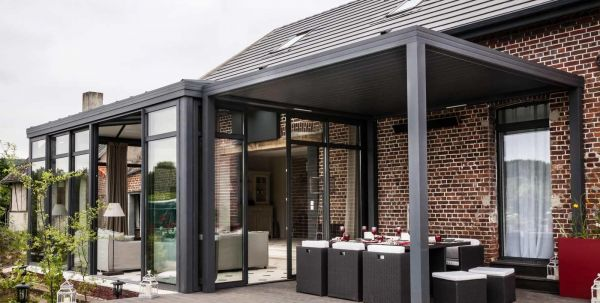 pergola bioclimatique  gris anthracite
